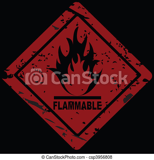 Flammable Fire Hazard warning symbol - csp3956808