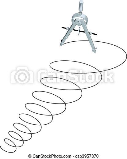Drafting design compass drawing circles spiral up - csp3957370