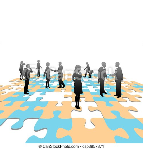 Jigsaw puzzle pieces business people team solution - csp3957371