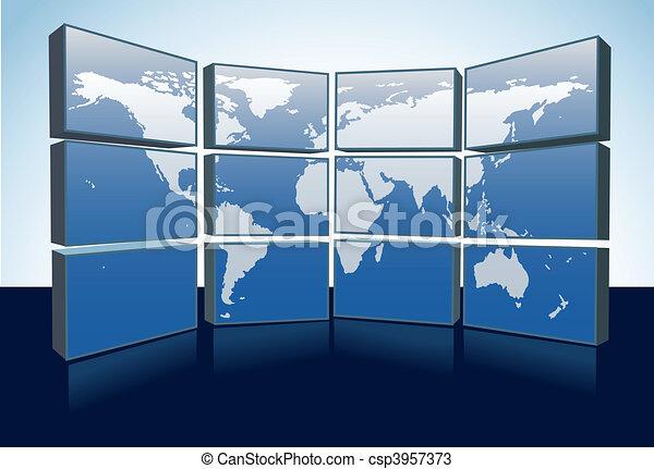 World map monitors display Earth map on screens - csp3957373
