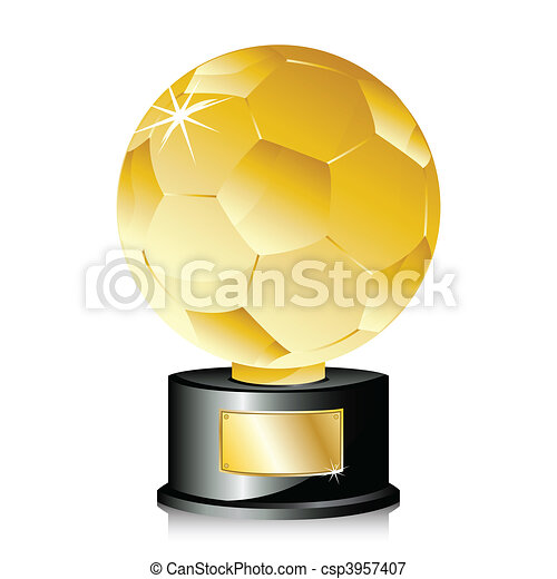 Golden Ball Soccer Trophy Champion. - csp3957407