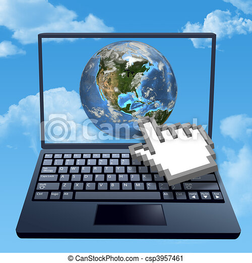 Cursor hand clicks internet cloud world - csp3957461