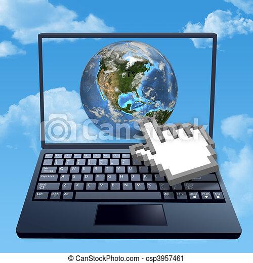 Cursor hand clicks internet cloud world - csp3957461