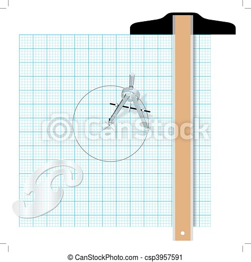 Drafting tools protractor t square compass engineering - csp3957591
