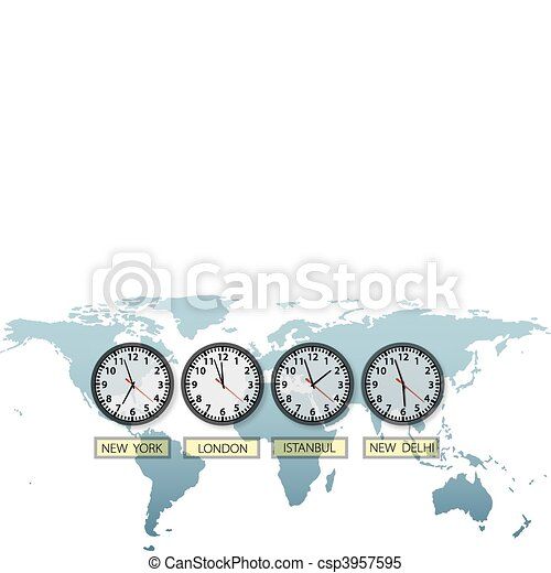 Travel Earth city time clocks on world map - csp3957595
