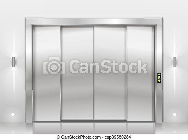 Closed Door Drawing vector of closed elevator doors - closed door of the freight