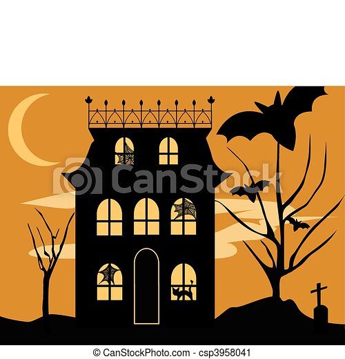 Vector Clip Art of Halloween House - Vector Halloween haunted house ...