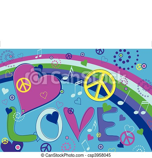 Love Peace and Hearts - csp3958045