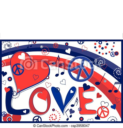 Love Peace and Hearts - csp3958047