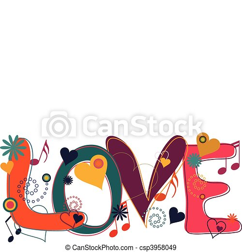 Love Text in Hippie Brights - csp3958049