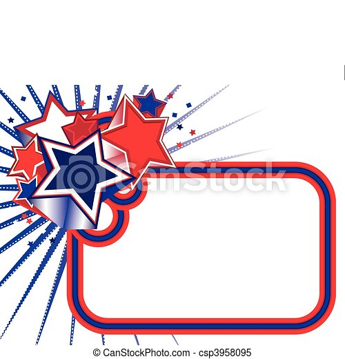 Red white blue stars banner - csp3958095