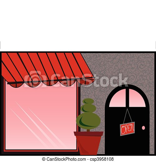 Store Front with Red Awning - csp3958108