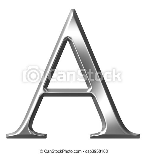 3D Silver Greek Letter Alpha - csp3958168