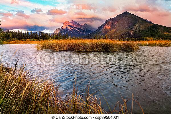 Vermilion Lakes Sunset near Banff - csp39584001