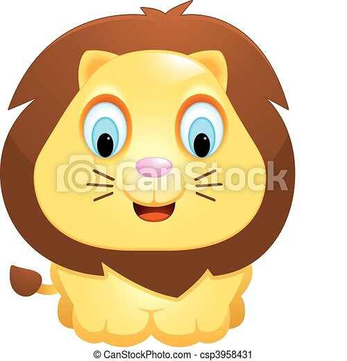 Vector Clip Art de bebé, león - Un, feliz, caricatura, bebé, león ...