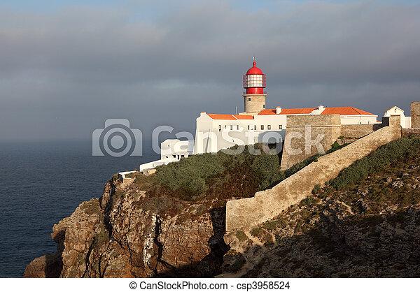 Lighthouse at Cape St. Vincent in Algarve, Portugal - csp3958524