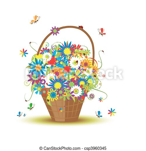 Basket with flowers for your design - csp3960345