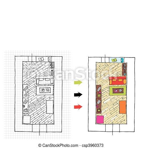 Vektoren von inneneinrichtung design wohnungen for Design von wohnungen