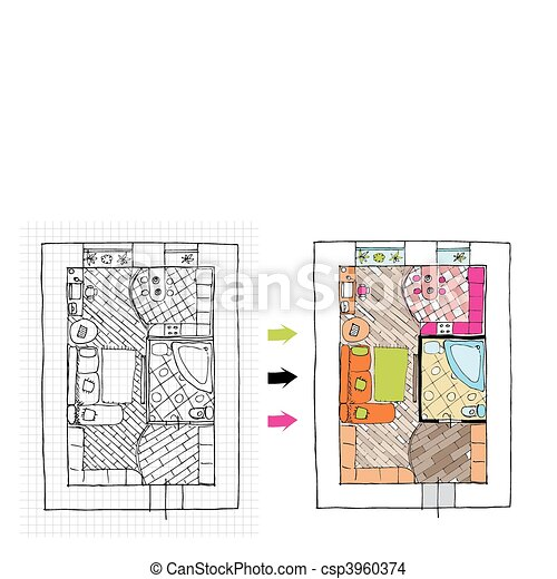 Interior design apartments - top view. Ragged lines, sketch handwork - csp3960374