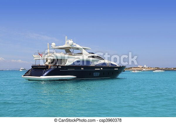 luxury yacht in turquoise Illetes Formentera - csp3960378