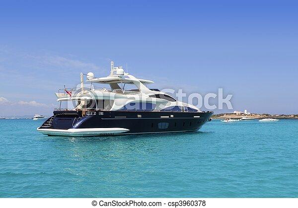 luxury yacht in turquoise Illetes Formentera - csp3960378