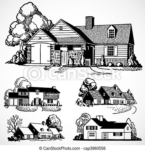 Vector Vintage Real Estate and Homes - csp3960556