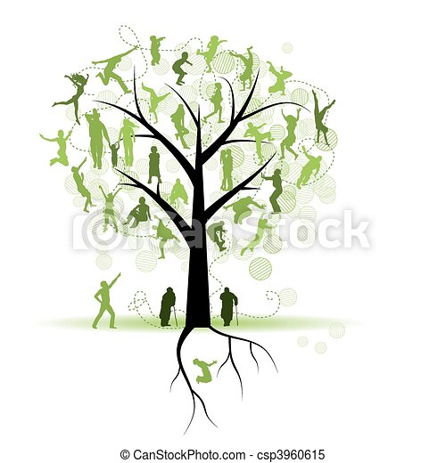Family tree, relatives, people silhouettes - csp3960615