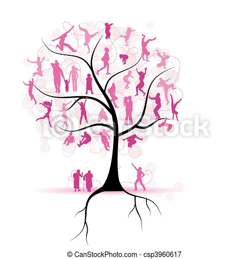Family tree, relatives, people silhouettes - csp3960617
