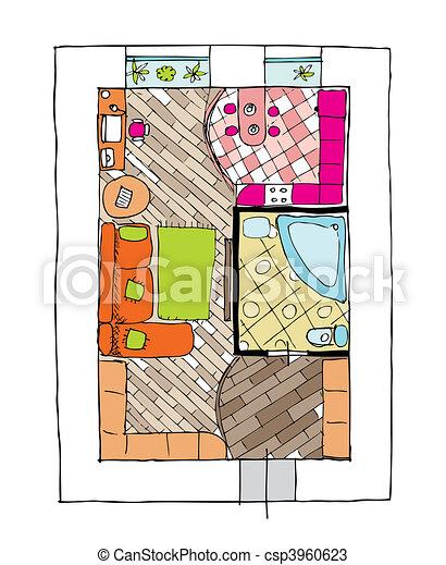 Interior design apartments - top view - csp3960623