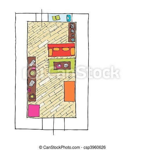 Clip Art Vector of Interior design apartments - top view ...