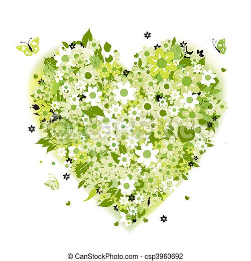 Floral heart shape, summer green - csp3960692