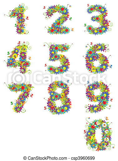 Numbers, floral design. See also numbers in my gallery - csp3960699
