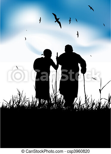 Two old people walk on nature together - csp3960820