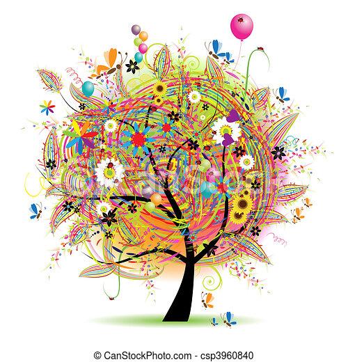 Happy holiday, funny tree with baloons - csp3960840