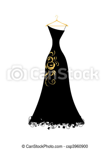Evening dress black on hangers - csp3960900