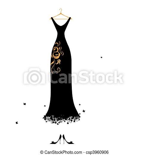 Evening dress black on hangers - csp3960906