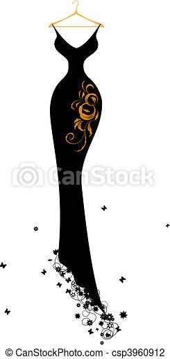Evening dress black on hangers - csp3960912