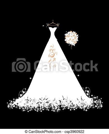 Wedding dress white on hangers - csp3960922