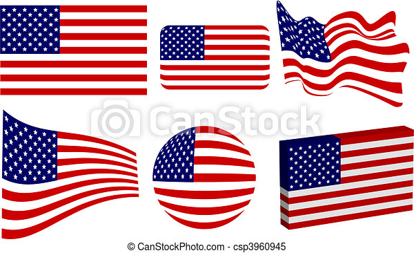 American Flag Set - csp3960945