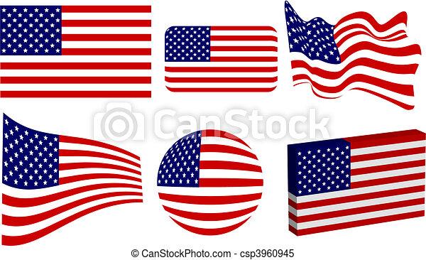 American Flag Set - csp3960945