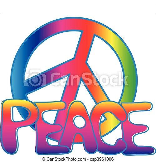 PEACE sign and PEACE text - csp3961006