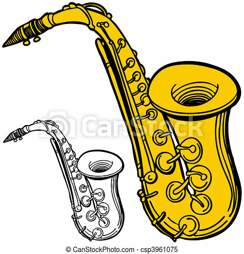 Vecteur clipart de saxophone csp3961075 recherchez des - Saxophone dessin ...