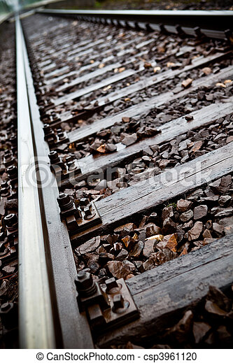 Railroad tracks to nowhere close-up - csp3961120