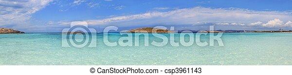 Panoramic Illetas view turquoise Formentera Balearic - csp3961143