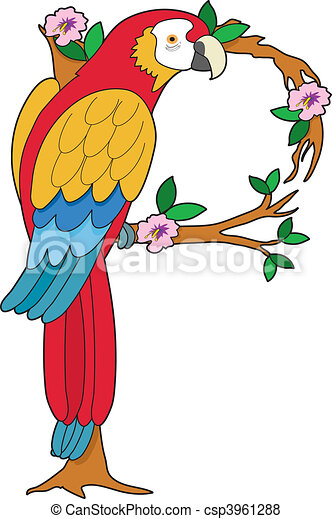 Stock Illustration of Animal Alphabet P - A parrot sitting on a ...