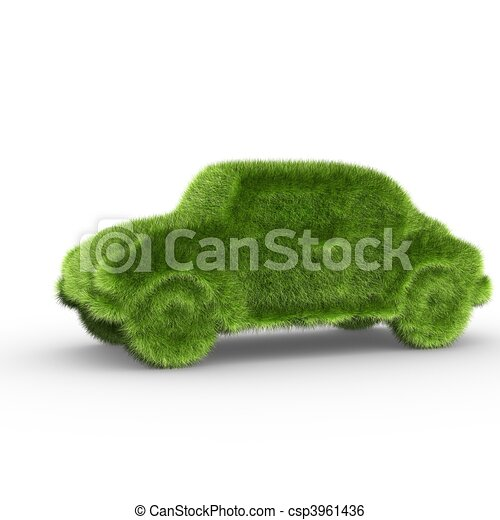 A car covered with grass symbolizing a clean energy vehicle - csp3961436