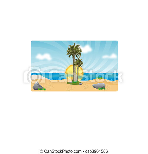 Coconut palm trees on beach. Sunset or sunrise by sea - csp3961586