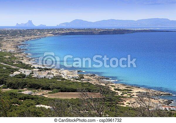 aerial view Formentera balearic island Ibiza horizon - csp3961732