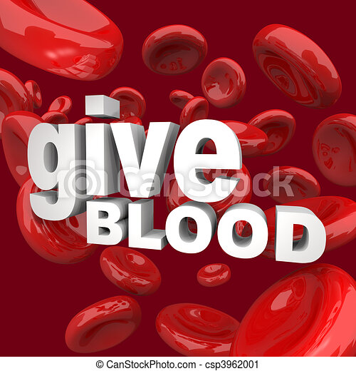 Give Blood - Words and Cells - csp3962001