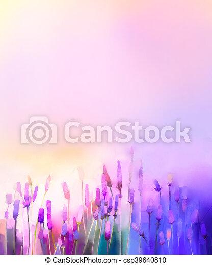 Gemälde clipart  Clipart von oel, lavendel, violette blüten, gemälde, wiesen - Oil ...